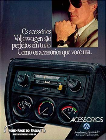 Anúncio da linha de acessórios da Volkswagen em 1980. Mais publicidade dessa época pode ser encontrada na nossa área de propagandas.