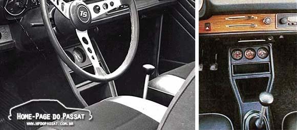 O console utilizado no Passat TS 1976 em imagem de divulgação da Volkswagen (esq.) e no teste da revista Quatro Rodas (dir.).