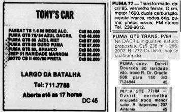 Anúncios de Puma transformados pela Dacril, em jornais do Rio de Janeiro e Niterói.