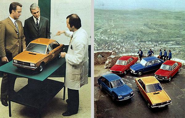 Modelo do K70 em escala (esq.) e K70 junto a alguns concorrentes no mercado alemão, durante teste da revista Auto und Sport: VW 411 LE, Audi 100 LS, Renault 16 TS e BMW 1600 (dir.).