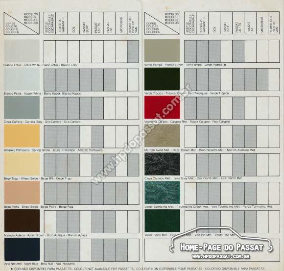 Tabela de cores VW de 1981