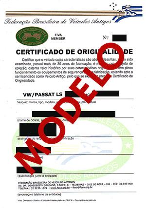 Modelo de Certificado de Originalidade emitido pela Federação Brasileira de Veículos Antigos, para a obtenção da placa preta