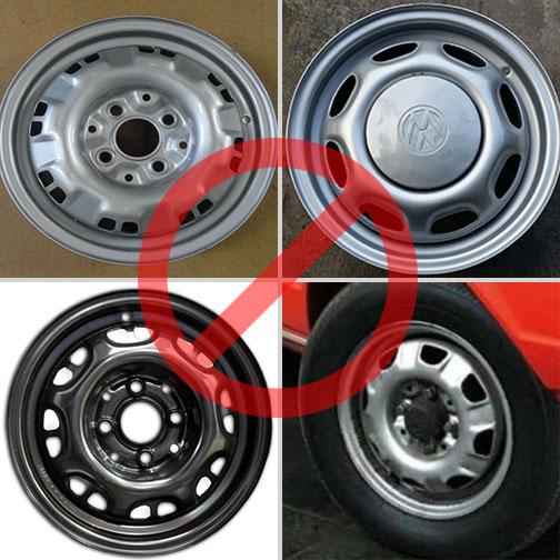 Rodas de aço utilizadas na linha Gol, comumente confundidas com rodas originais de Passat.