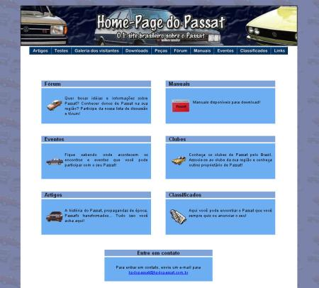 Home-Page do Passat: layout usado entre 2003 e dezembro de 2008